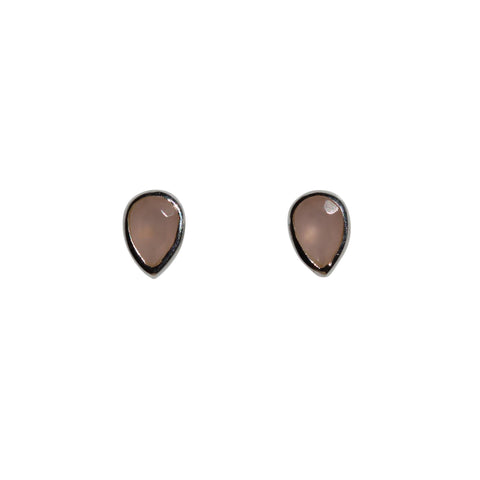Aphrodite Stud Earrings - Silver & Rose Chalcedony Pear Cut Stones