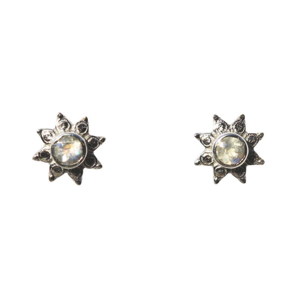 Azure Stud Earrings - Silver & Rainbow Moonstone Round Cut Stone in 8-Point Star