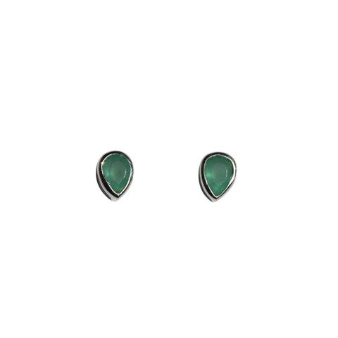 Aphrodite Stud Earrings - Silver & Aqua Chalcedony Pear Cut Stones