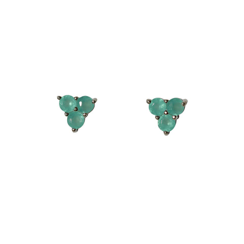 Belle Mare Stud Earrings - Silver & Aqua Chalcedony Round Cut Stones x 3 Triangle