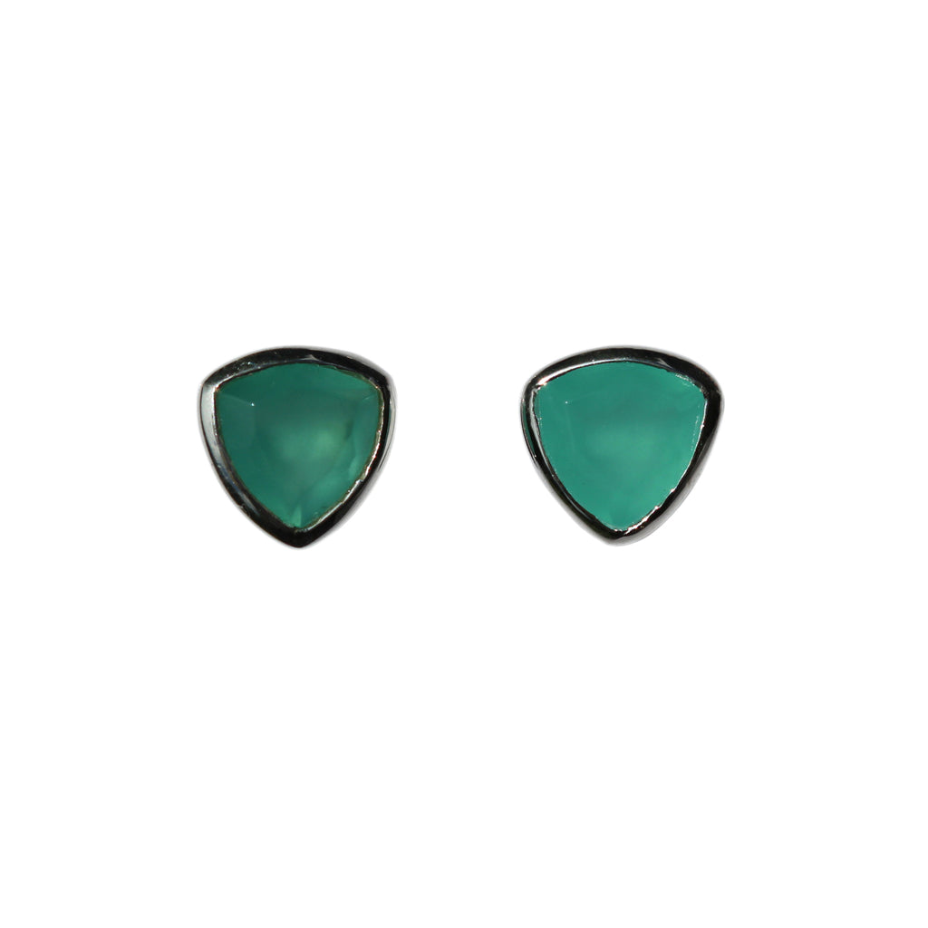 Belle Mare Stud Earrings - Silver & Aqua Chalcedony Trillion Cut Stones