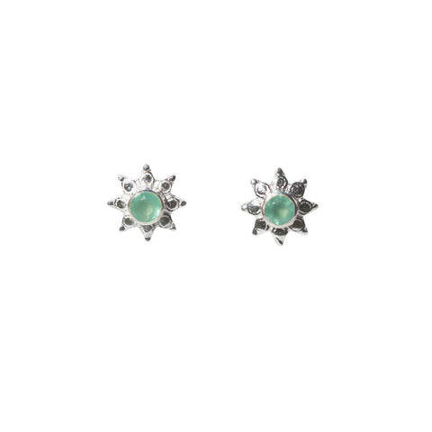 Azure Stud Earrings - Silver & Aqua Chalcedony Round Cut Stone in 8-Point Star