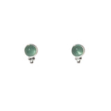 Azure Stud Earrings - Silver & Aqua Chalcedony Round Cabochon & Rawa Work