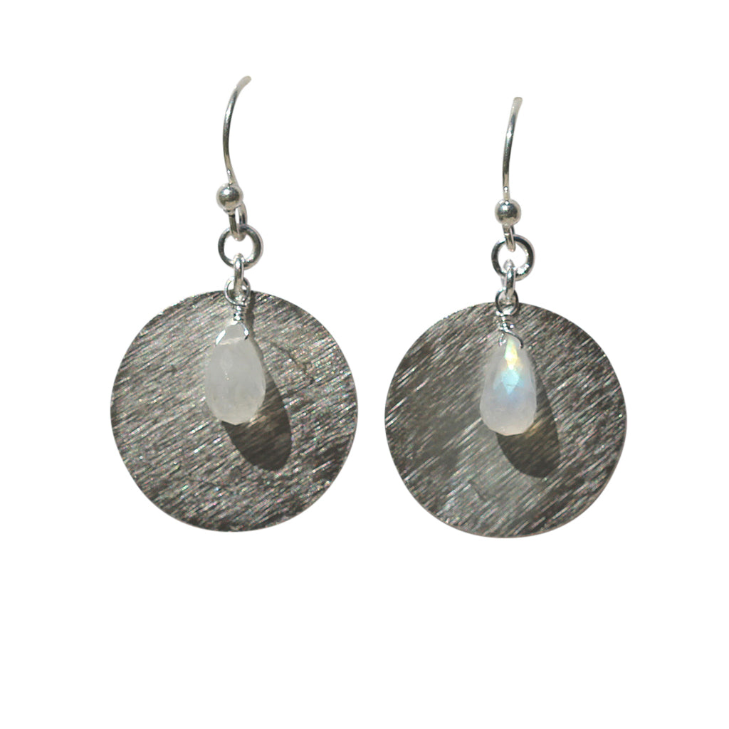 Belle Mare Earrings - Silver Brushed Discs & Rainbow Moonstone Briolette