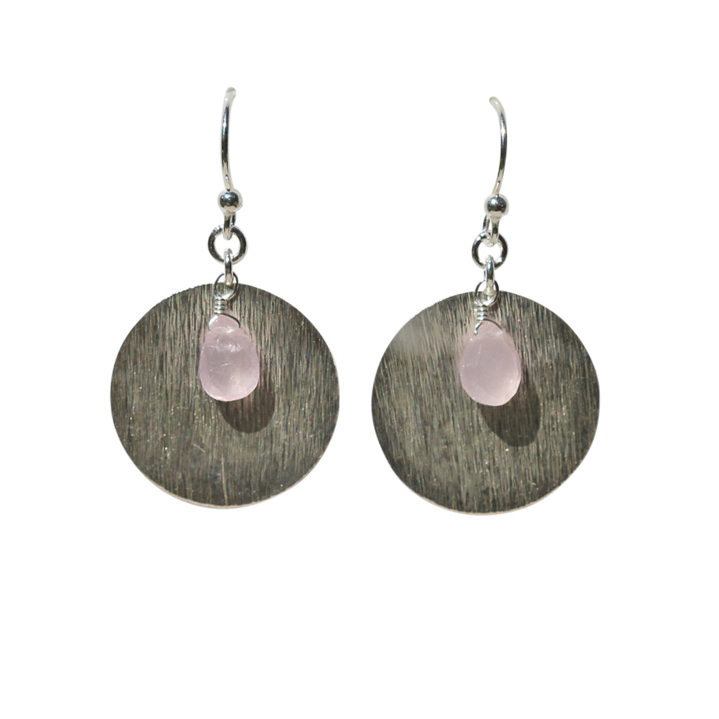 Belle Mare Earrings - Silver Brushed Discs & Rose Chalcedony Briolette