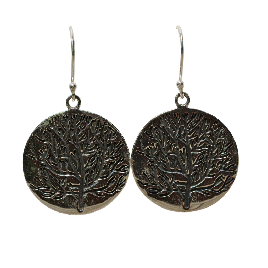 Belle Mare Earrings - Silver Discs with Coral Design
