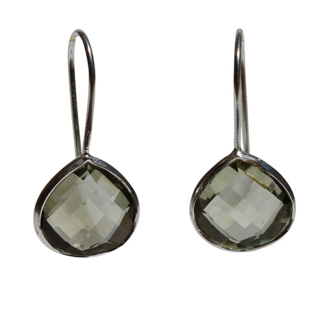 Zen Drop Earrings - Silver & Green Amethyst Rounded Pear Cut Stones