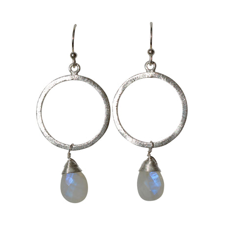 Belle Mare Earrings - Silver Brushed Hoop with Rainbow Moonstone Briolette