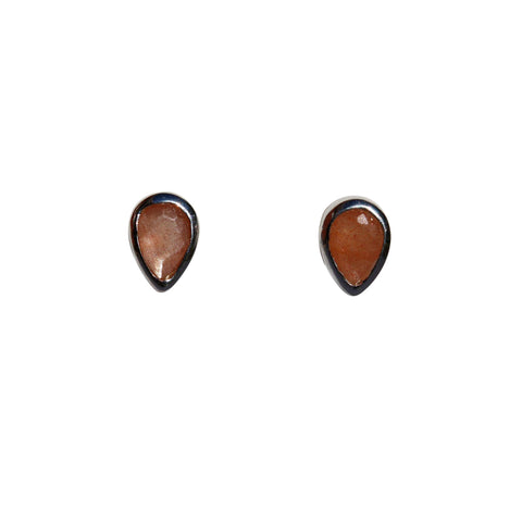 Aphrodite Stud Earrings - Silver & Peach Moonstone Pear Cut Stones