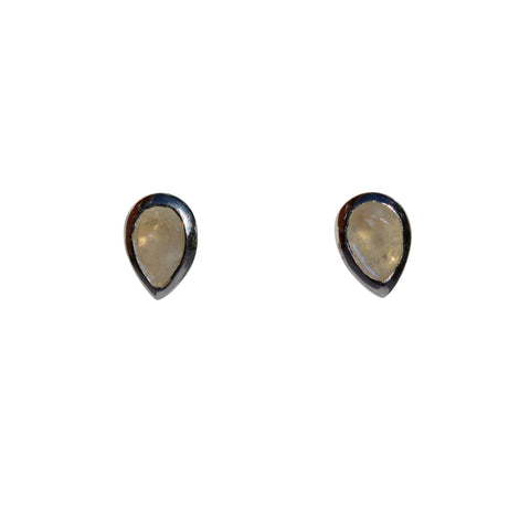 Aphrodite Stud Earrings - Silver & Rainbow Moonstone Pear Cut Stones