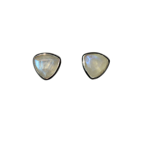 Belle Mare Stud Earrings - Silver & Rainbow Moonstone Trillion Cut Stones