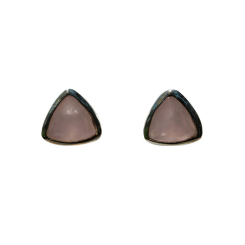 Belle Mare Stud Earrings - Silver & Rose Chalcedony Trillion Cut Stones