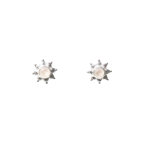 Azure Stud Earrings - Silver & Rose Chalcedony Round Cut Stone in 8-Point Star