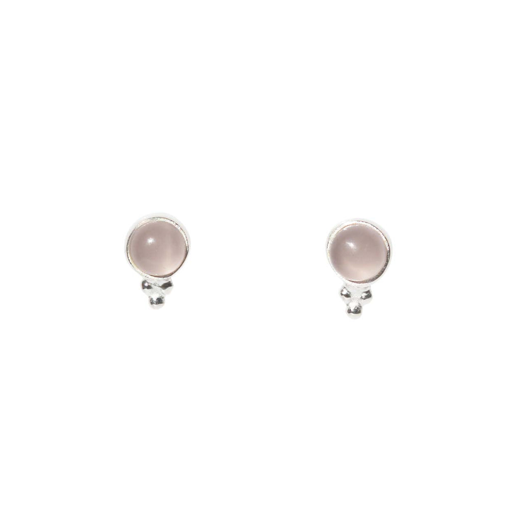 Azure Stud Earrings - Silver & Rose Chalcedony Round Cabochon & Rawa Work