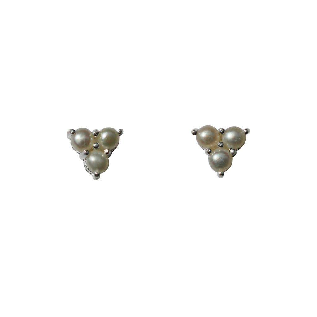 Belle Mare Stud Earrings - Silver & Freshwater Pearls x 3 Triangle