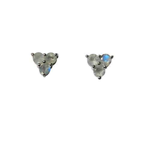 Belle Mare Stud Earrings - Silver & Rainbow Moonstone Round Cut Stones x 3 Triangle