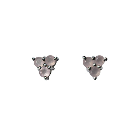Belle Mare Stud Earrings - Silver & Rose Chalcedony Round Cut Stones x 3