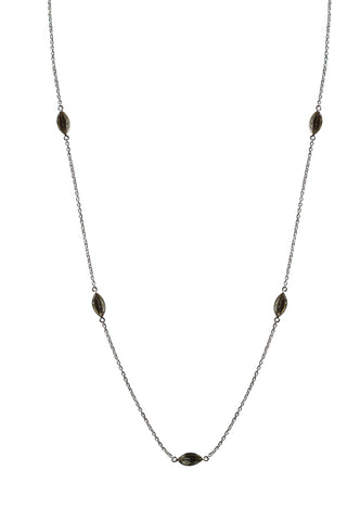 Aphrodite Necklace - Silver & Green Amethyst Marquise Cut Stones x 7