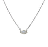 Prana Necklace - Silver & Rainbow Moonstone Marquise Cut Stone