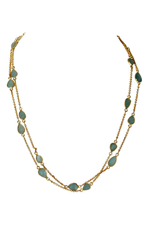 OM Fine Necklace - Gold & Aquamarine Sliced Stones