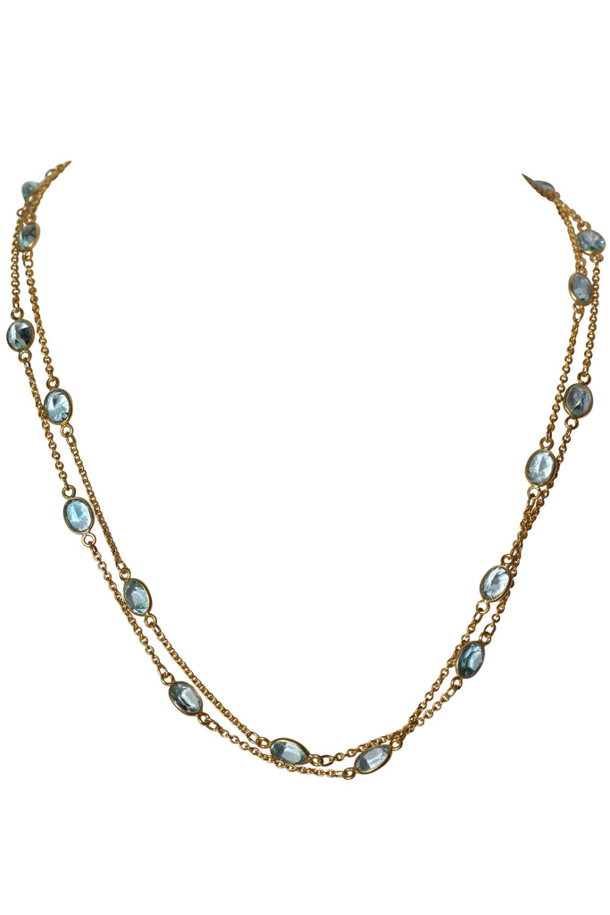 OM Fine Necklace - Gold & Blue Topaz Oval Cut Stones