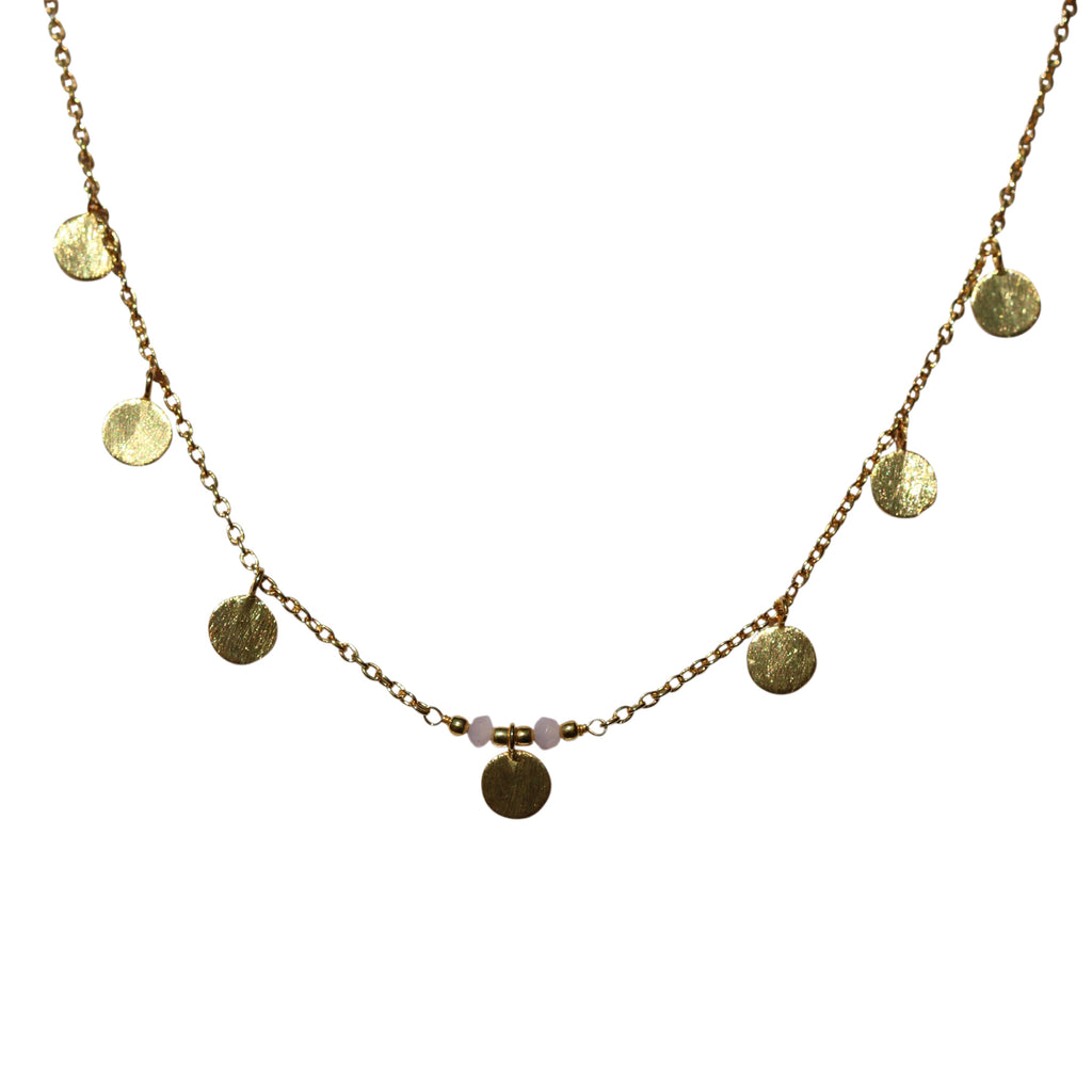 Belle Mare Necklace - Gold Brushed Discs x 7 & Rose Chalcedony Rondelles