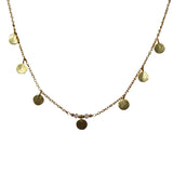 Belle Mare Necklace - Gold Brushed Discs x 7 & Rose Chalcedony Rondelles - Choker Length