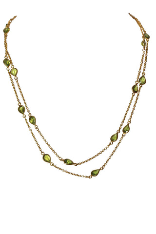 OM Fine Necklace - Gold & Peridot Pear Cut Stones