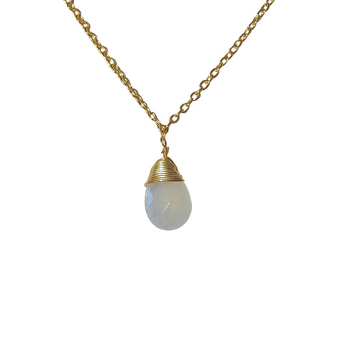 Belle Mare Necklace - Gold & Rainbow Moonstone Briolette