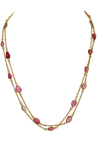OM Fine Necklace - Gold & Ruby Sliced Stones