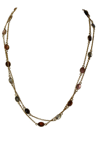 OM Fine Necklace - Gold & Tourmaline Cabochon Stones