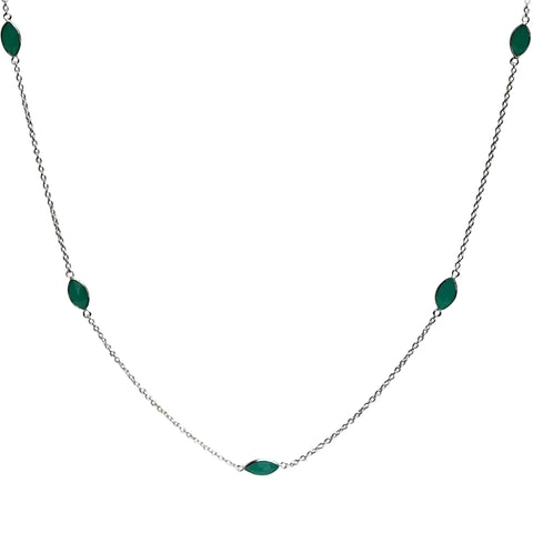Aphrodite Necklace - Silver & Aqua Chalcedony Marquise Cut Stones x 7