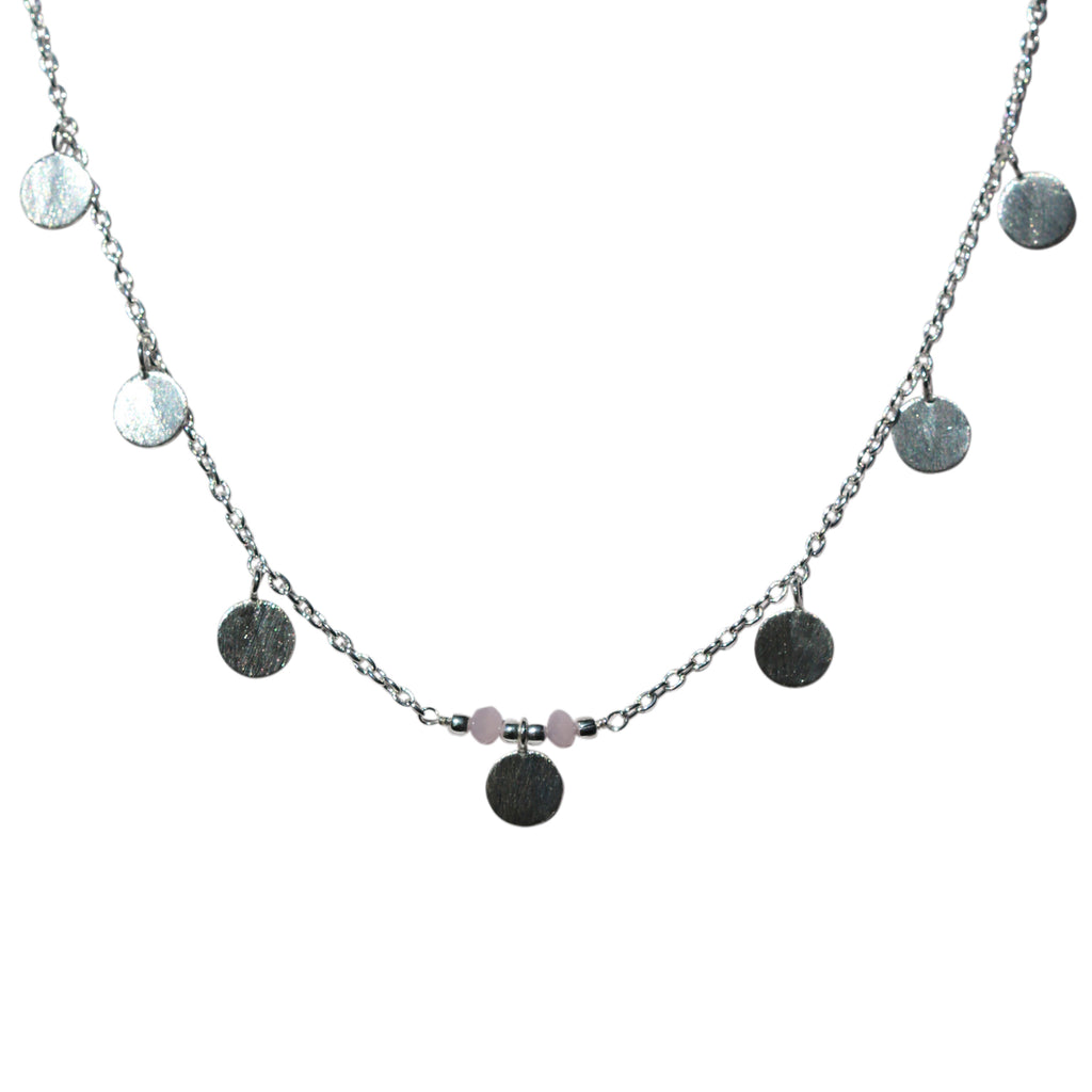 Belle Mare Necklace - Silver Brushed Discs x 7 & Rose Chalcedony Rondelles