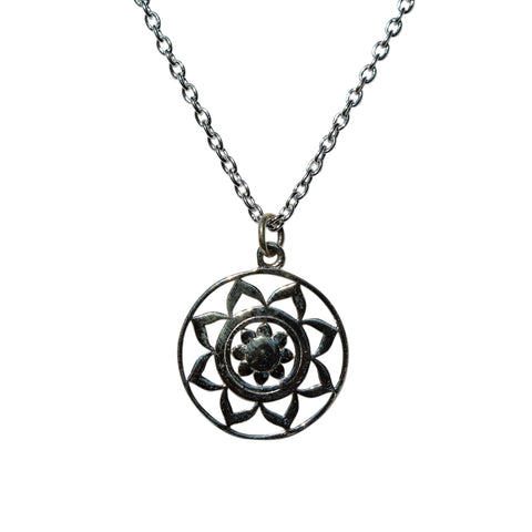Belle Mare Necklace - Silver Mandala Medallion
