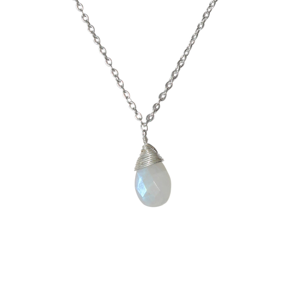 Belle Mare Necklace - Silver & Rainbow Moonstone Briolette