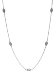 Aphrodite Necklace - Silver & Rainbow Moonstone Marquise Cut Stones x 7