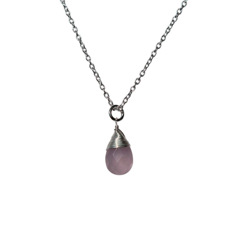 Belle Mare Necklace - Silver & Rose Chalcedony Briolette