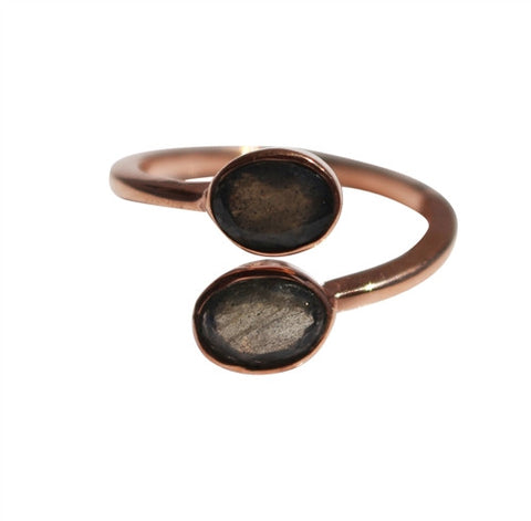 Karma Ring - Rose Gold & Labradorite Oval Cut Stones