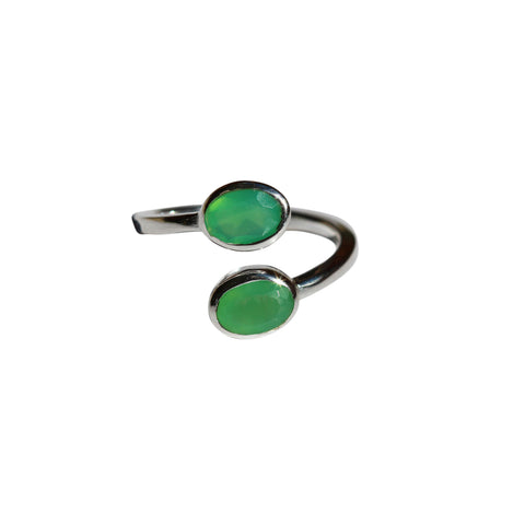 Karma Ring - Silver & Chrysoprase Oval Cut Stones