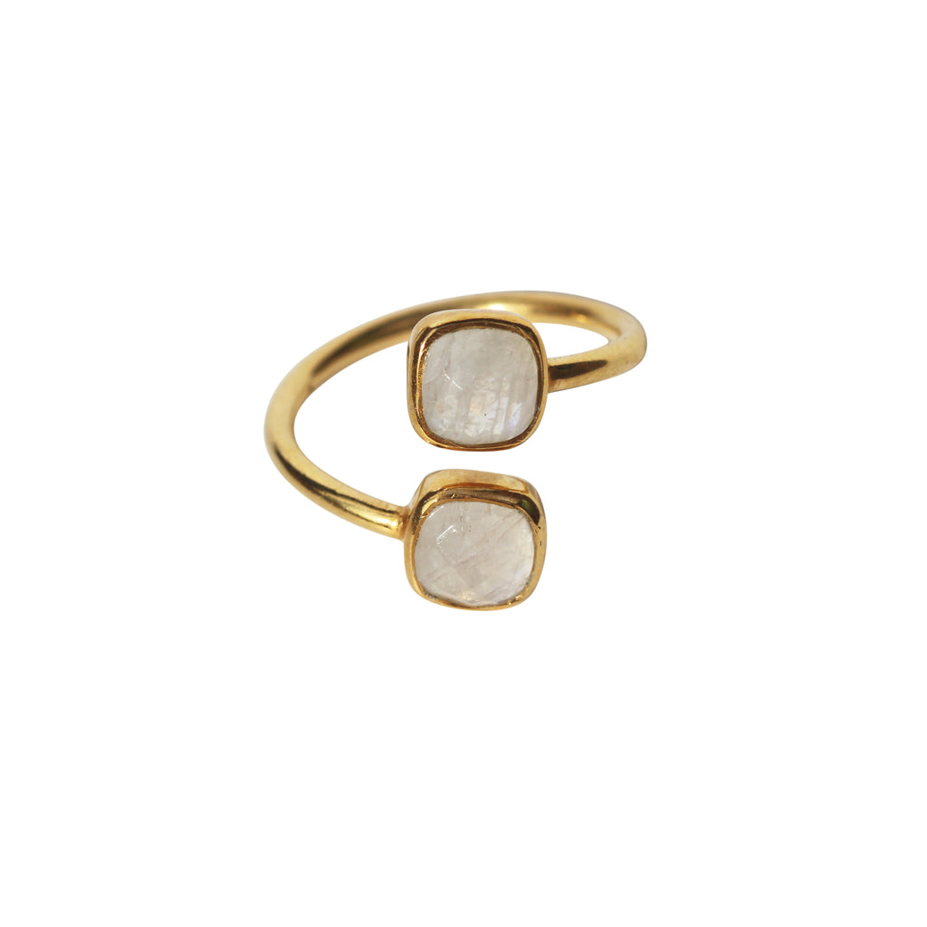Belle Mare Ring - Gold & Rainbow Moonstone Cushion Cut Stones