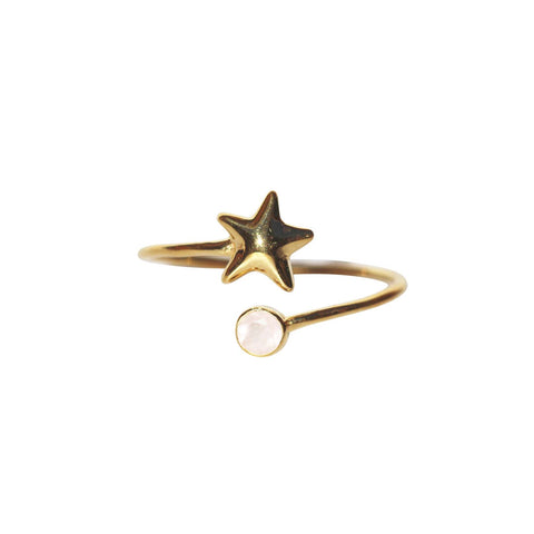 Azure Adjustable Ring - Gold Starfish with Rose Chalcedony Round Cut Stone