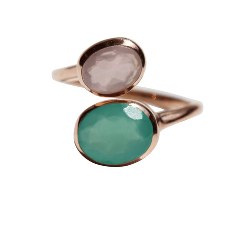 Samsara Yin Yang Ring - Rose Gold & Aqua Chalcedony & Rose Chalcedony Oval Cut Stones - Adjustable Size
