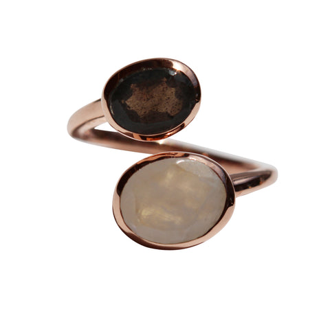 Samsara Yin Yang Ring - Rose Gold & Rainbow Moonstone & Labradorite Oval Cut Stones - Adjustable Size