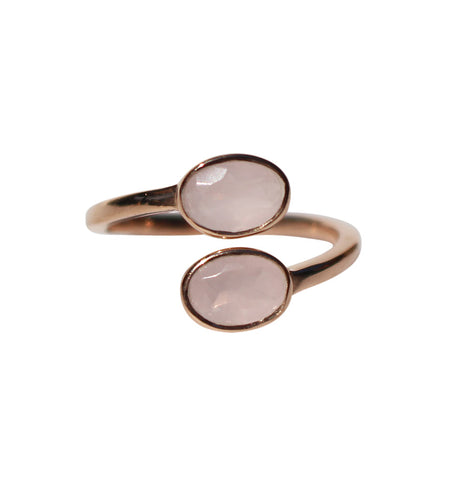 Karma Ring - Rose Gold & Rose Chalcedony Oval Cut Stones