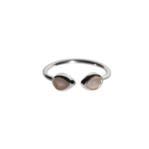 Aphrodite Ring - Silver & Rose Chalcedony Pear Cut Stones