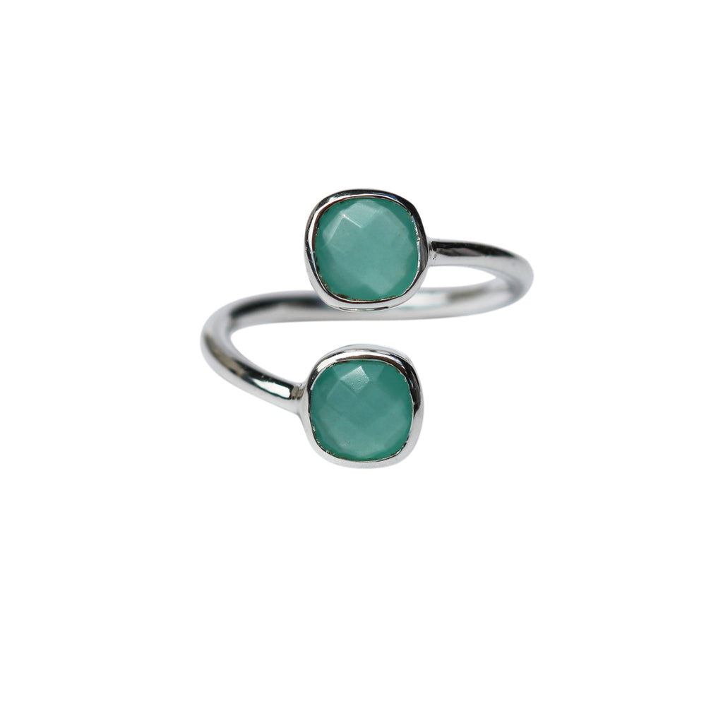 Belle Mare Ring - Silver & Aqua Chalcedony Cushion Cut Stones