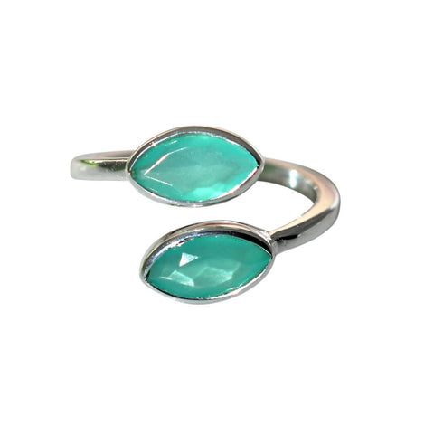 Prana Ring - Silver & Aqua Chalcedony Marquise Cut Stones - Adjustable Size