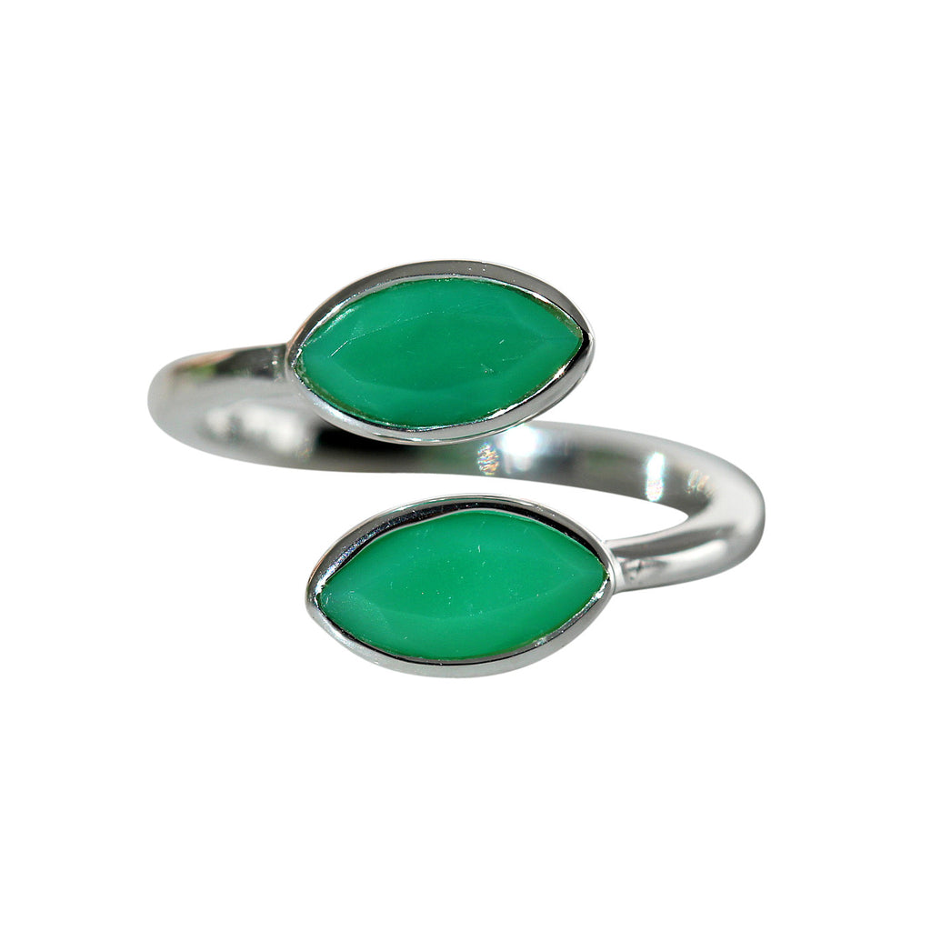 Prana Ring - Silver & Chrysoprase Marquise Cut Stones - Adjustable Size