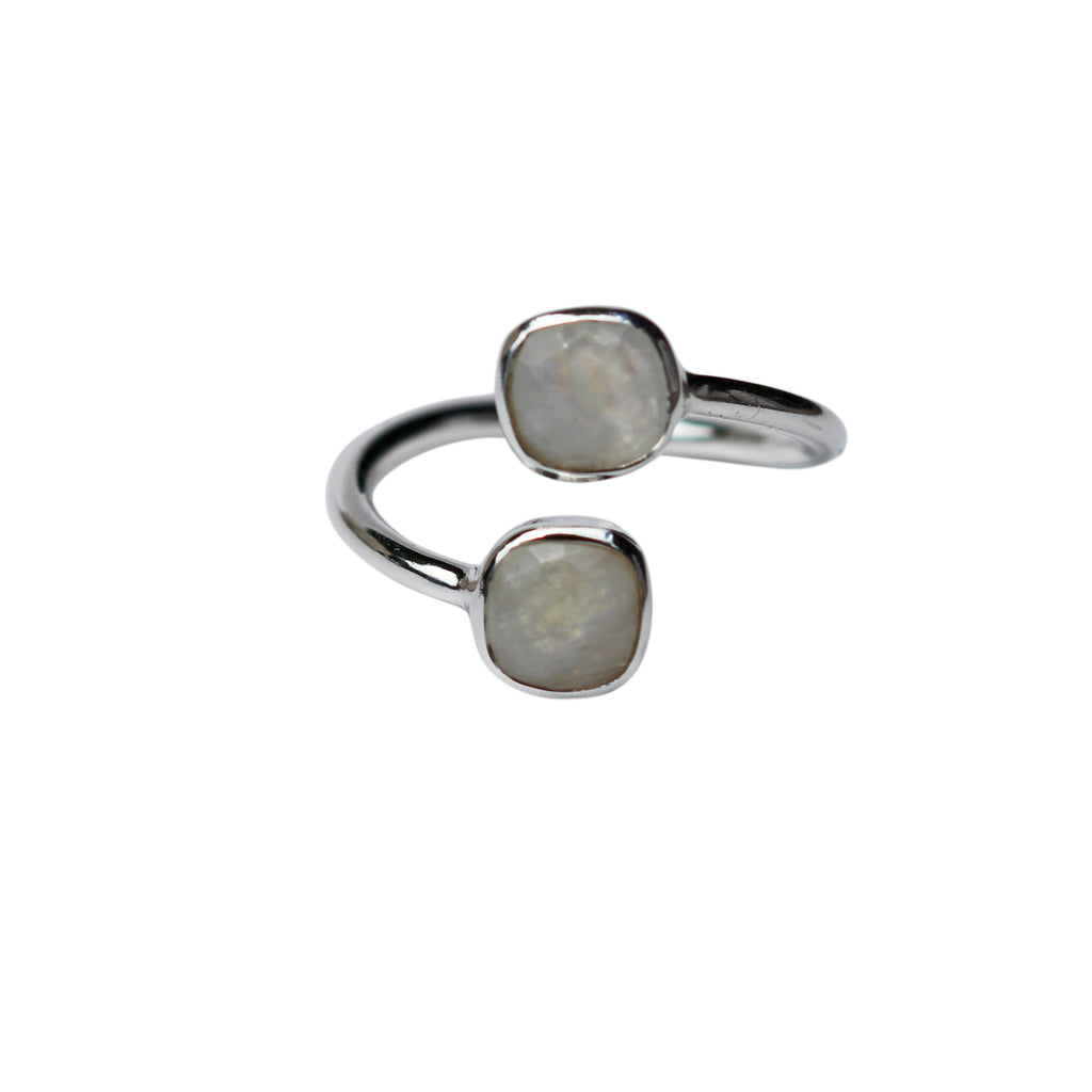Belle Mare Ring - Silver & Rainbow Moonstone Cushion Cut Stones