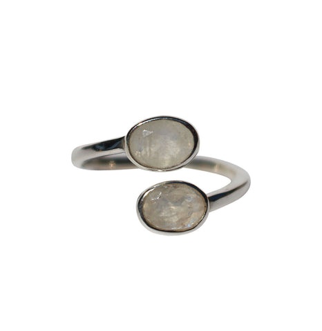 Karma Ring - Silver & Rainbow Moonstone Oval Cut Stones